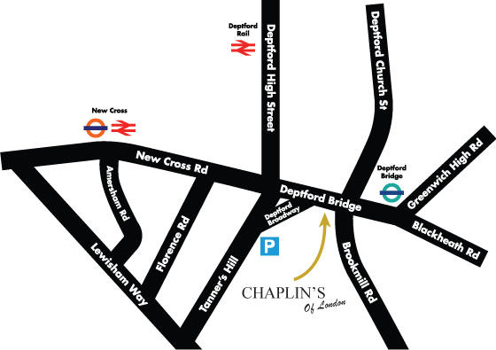 Chaplins Of London Contact Us Or Find Us In Deptford - How to find us map
